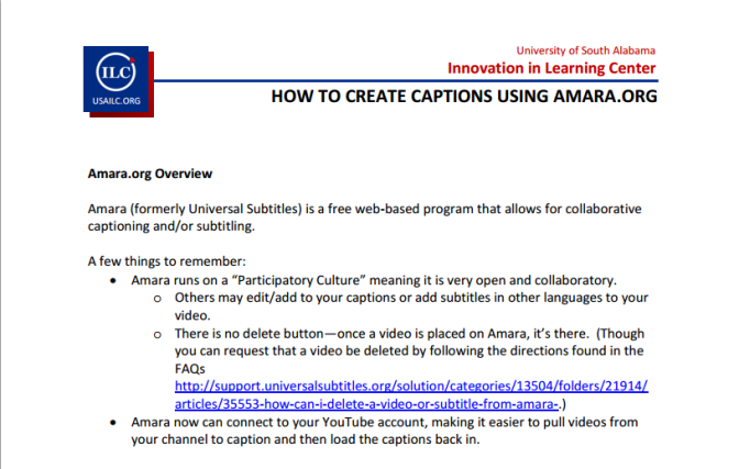 Creating Captions Using Amara How-To Guide