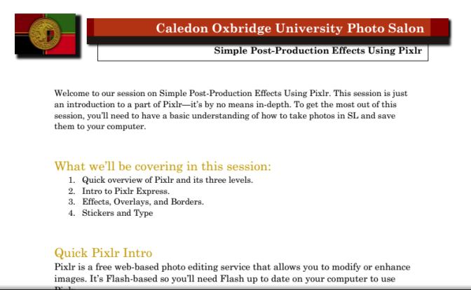 Pixlr Lecture
